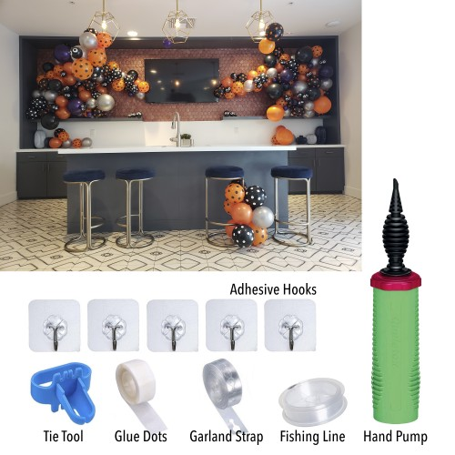 Halloween Theme 2 Balloon Garland arch DIY Kit with Strip and Supplies