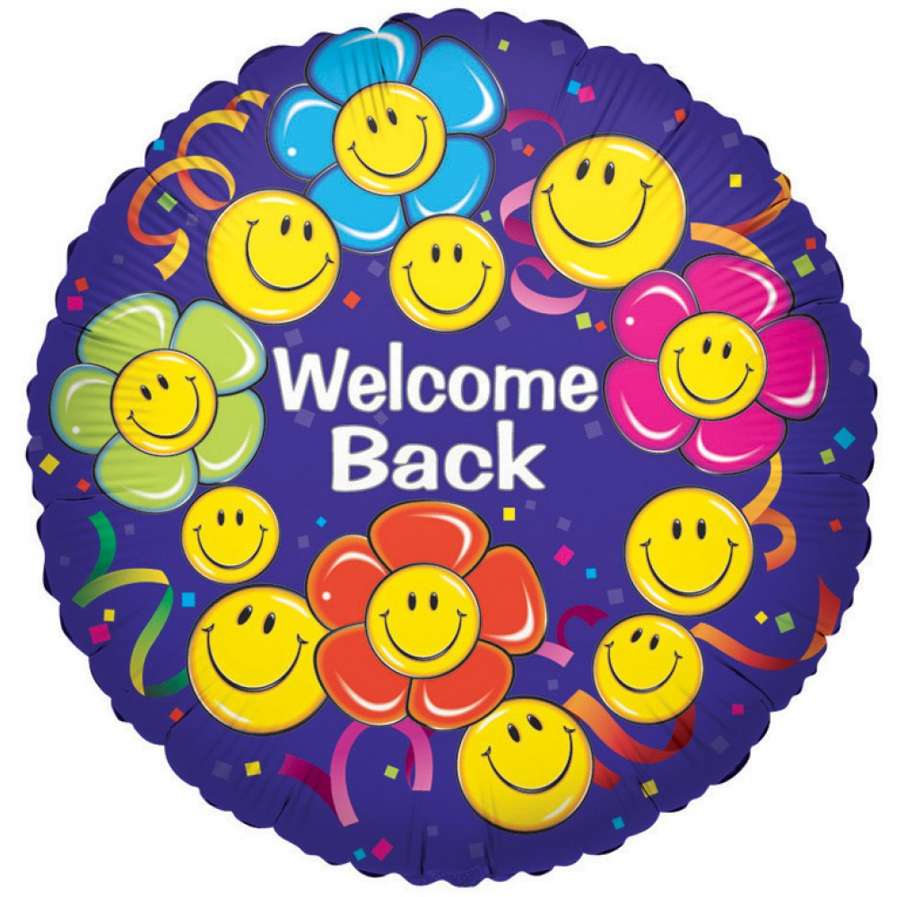18 Double Sided Printed Welcome Back Smiley Flowers Mylar Balloon