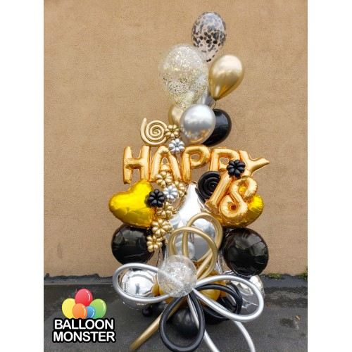 Themed Bouquet - Gold,Black,Silver
